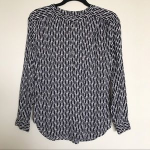 Loft Navy and White Printed Popover Blouse Small